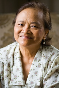 Smiling older woman.