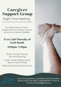 Caregiver Support Group – Night Time @ Green County Human Services